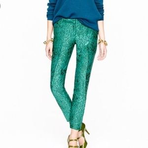 J Crew Collection Cafe Capri in Jade Jacquard